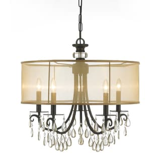 Hampton 5-light English Bronze Oyster Crysal Chandelier
