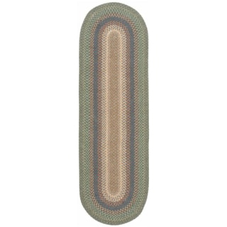 Hand-woven Braided Sage Mutlicolor Rug (2'3 x 7' Oval Runner)