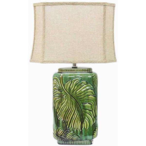Integrity 29-inch Green Raised Leaf Reactive Ceramic Table Lamp