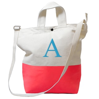 Monogrammed Coral Latex-dipped Canvas Tote Bag