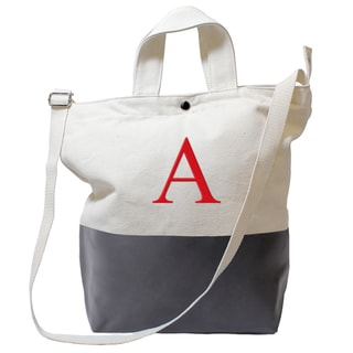 Monogrammed Charcoal Latex-dipped Canvas Tote Bag