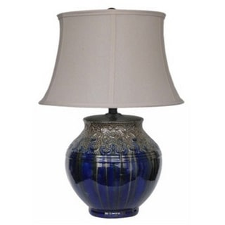 Integrity 23-inch Metallic Silver on Blue Ceramic Table Lamp
