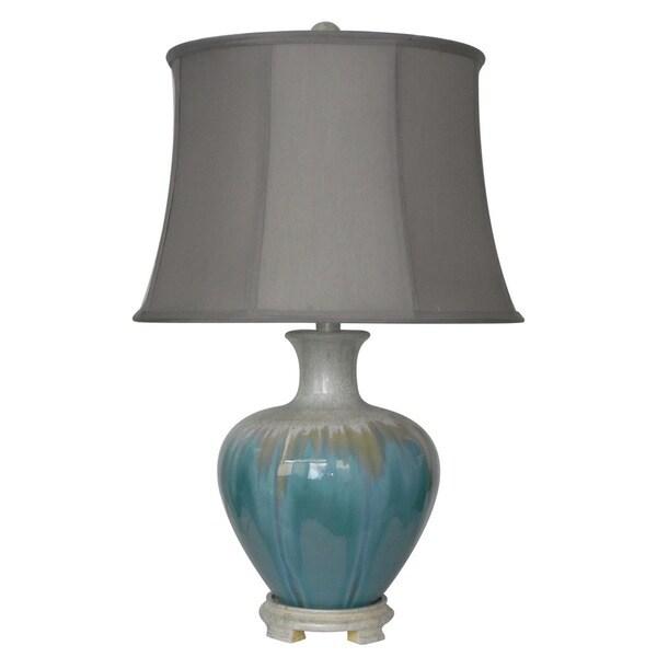 Integrity 25-inch White Metallic on Aqua Cermamic Table Lamp