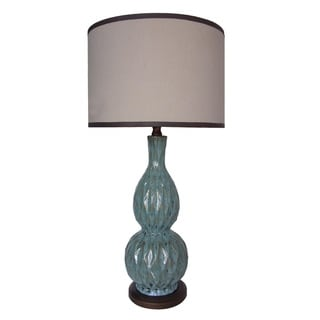 Integrity 31-inch Brown and Blue Double Gourd Ceramic Table Lamp