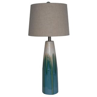 Integrity 31-inch Cream and Blue Reactive Ceramic Table Lamp