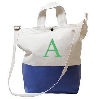 Monogrammed Light Navy Latex-dipped Canvas Tote Bag