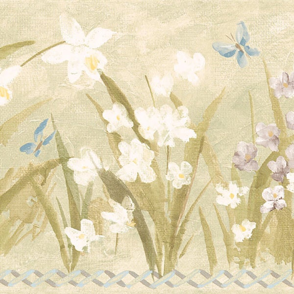 Olive Butterfly Meadow Border Wallpaper