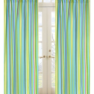 Turquoise and Lime Layla Stripe Window Treatment Panel Pair