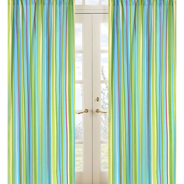 Sweet Jojo Designs Turquoise Green Yellow Pink And White Stripe Layla 84 Inch Window