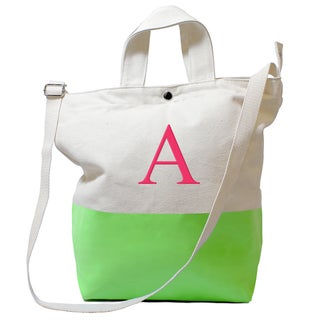 Personalized Color Dipped Canvas Tote Kiwi
