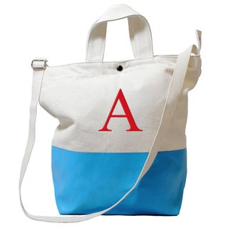 Monogrammed Aqua Latex-dipped Canvas Tote Bag