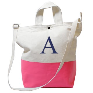 Monogrammed Pink Latex-dipped Canvas Tote Bag