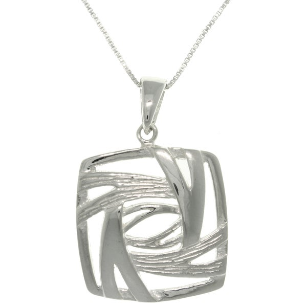 Sterling Silver Stylized Square Necklace 10835687