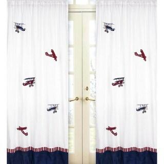 Vintage Aviator Airplanes 84-inch Curtain Panel Pair