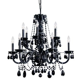 Crystorama Transitional 12-light Black/ Crystal Chandelier