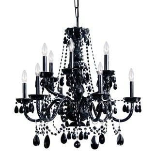 Transitional 12-light Black Crystal Chandelier