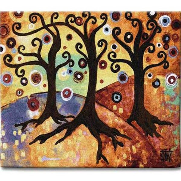 Tree of Life Gold Cotton Wall Tapestry