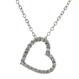 City Style High-Polish Silvertone Clear Cubic Zirconia Open Heart Necklace