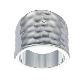 City by City City Style Silvertone Polished and Hammered Ring