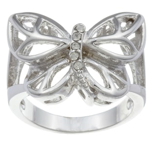 City Style Silvertone Cubic Zirconia Butterfly Ring