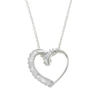City Style Silvertone Clear Cubic Zirconia Open Heart Necklace
