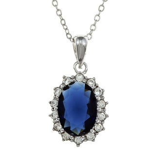 City Style Silvertone Blue Montana Glass and Cubic Zirconia Necklace