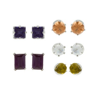 City Style Silvertone CZ and Montana Glass 5-pair Earring Set