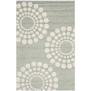 Handmade Soho Cotton-Backed Gray/Ivory New Zealand Wool Floral Rug (3'6