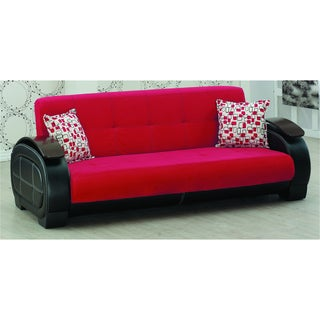 Berline Red Microfiber/ Black Sofa Bed