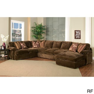 Champion 4-piece Chaise Sectional Brown Fabric Oversized Set