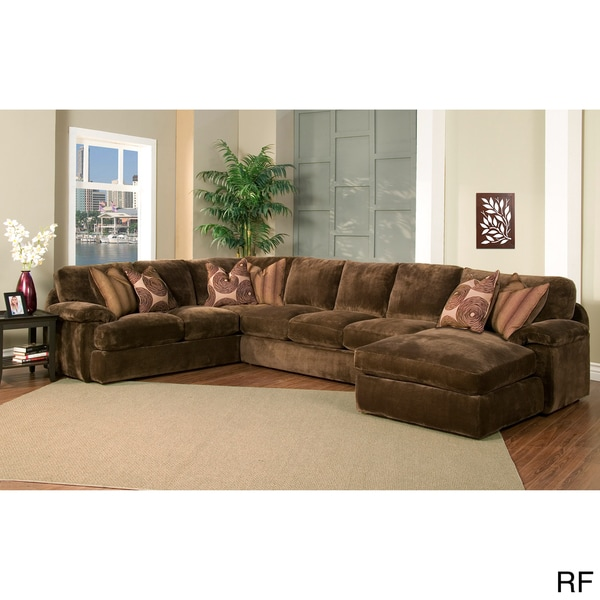 champion 4 piece chaise sectional brown fabric oversized set overstock shopping big. Black Bedroom Furniture Sets. Home Design Ideas