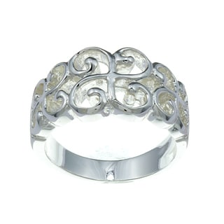 City Style Silvertone Scroll Design Ring