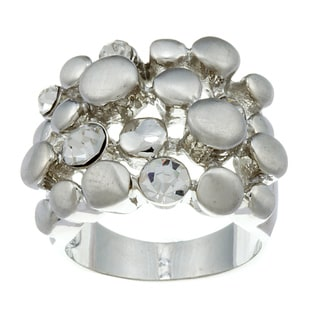 City Style Silvertone Cubic Zirconia Pebble Ring