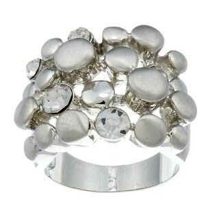 City by City City Style Silvertone Cubic Zirconia Pebble Ring