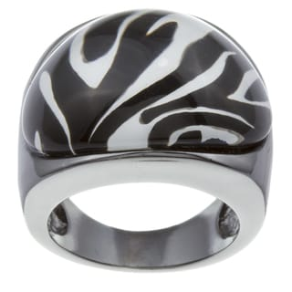 City Style Silvertone Zebra Epoxy Ring