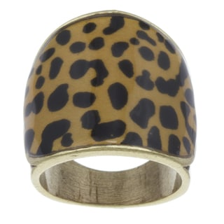 City Style Goldtone Leopard Pattern Epoxy Ring