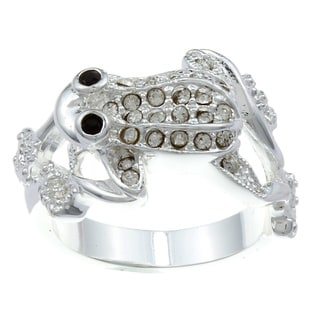 City Style Silvertone Black and White Cubic Zirconia Frog Ring