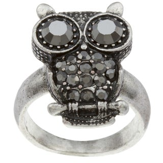 City Style Silvertone Chocolate Hematite Owl Ring