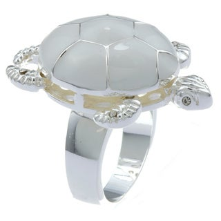 City Style Silvertone White Epoxy Turtle Ring