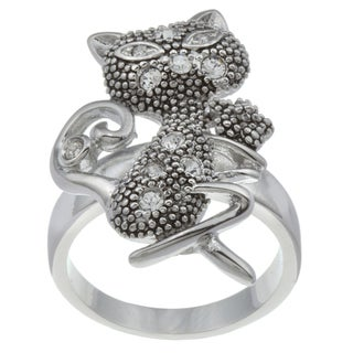 City Style Silvertone Cubic Zirconia Cat Ring