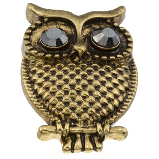 City by City City Style Goldtone Chocolate Cubic Zirconia Owl Ring