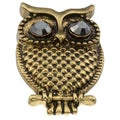 City Style Goldtone Chocolate Cubic Zirconia Owl Ring
