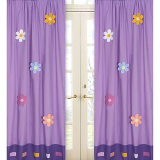 Danielle's Daisies Purple 84-inch Curtain Panel Pair