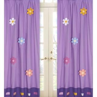 Danielle's Daisies Purple 84-inch Curtain Panel Pair