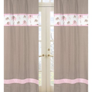 Pink and Taupe Mod Elephant 84-inch Curtain Panel Pair