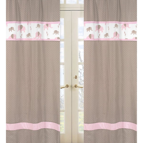 Pink and Taupe Mod Elephant 84-inch Curtain Panel Pair - 15243612 ...