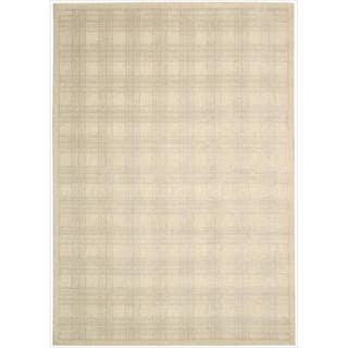 Kailash Woven Beige Plaid Print Bisque Rug (5'3 x 7'5)