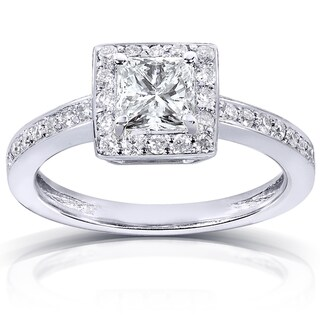 Annello 14k White Gold 7/8ct TDW Certified Diamond Engagement Ring (G-H, VS2)
