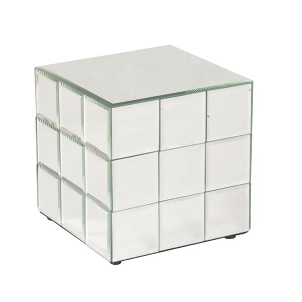 Allan Andrews Short Mirrored Puzzle Cube Pedestal