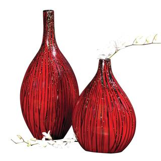Red/ Textured Black Drizzled Accents Bamboo Vases (Set of 2)